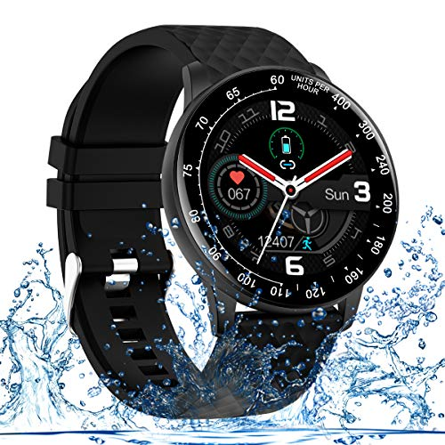 Adhope Smartwatch Sportuhr Fitness Armbanduhr Bluetooth IP68 Wasserdicht Touchscreen,Neuesten Benutzerdefiniert Zifferblatt Schrittzähler Pulsmesser Schlafmonitor Stoppuhr Damen Herren für iOS Android