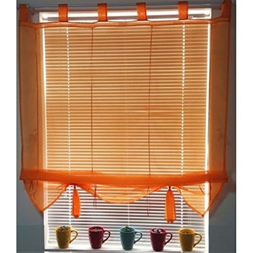 ANGEL BUD 1 Pieza Color sólido Cortina de tul - Cortina romana - Cortinas romanas para cocina, baño y balcón, Anchura 80 cm x Longitud 155 cm, Naranja