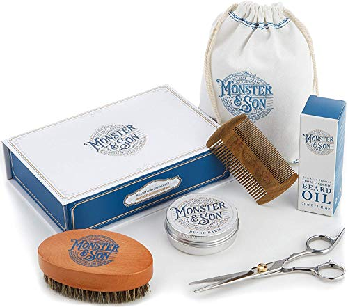 Monster&Son Premium 7-Item Beard Kit | Beard Oil, Beard Balm, Beard Brush, Beard Comb, Scissors,...
