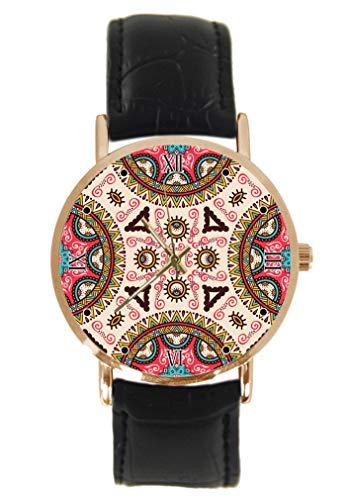 Reloj de Pulsera de Estilo Indio con diseño de otomana, clásico, Unisex, analógico, de Cuarzo, Caja de Acero Inoxidable, Correa de Cuero