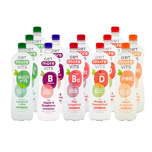 Get More Vits - Mixed Flavours, Sugar Free Flavoured Spring Water with Vitamins, Still & Sparkling, 5 Flavour Variety Pack, 1L (Pack of 12)