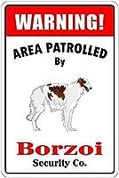 ボルゾイによる巡回ブリキ看板ヴィンテージ錫のサイン警告注意サインートポスター安全標識警告装飾金属安全サイン面白いの個性情報サイン金属板鉄の絵表示パネル