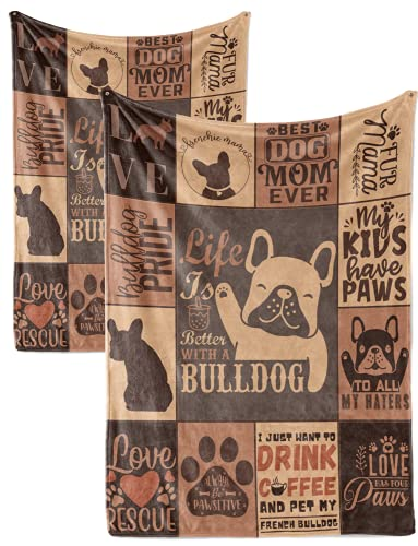 French Bulldog Blanket Throws Matching Set of 2, Flannel Fleece Blanket Gifts for Frenchie Lovers, Dog Mom and Dad (50'x65' + 30'x40'), Perfect for Birthday Christmas Thanksgiving, Brown