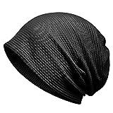 ニット帽春夏 ニットキャップ ビーニー 医療用帽子 抗がん剤 サマーニット ガーゼ生地 綿 柔らかい 通気性抜群 メンズ レディース (B ブラック/両用)