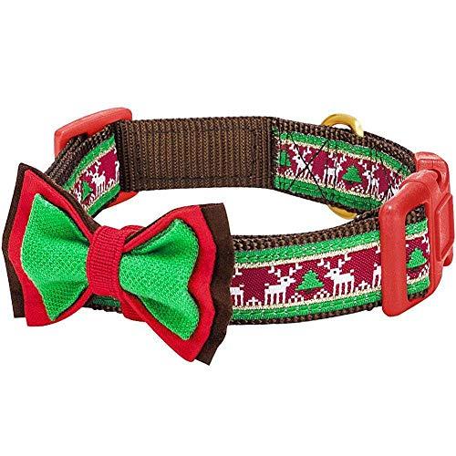 Blueberry Pet 4 Patterns Christmas Santa Claus's Reindeer Adjustable Dog Collar with Detachable Bow Tie, Medium, Neck 14.5'-20'