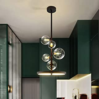 LED Lustre moderne 5 Flame G9 Lustre de boule de verre transparent Creative lustre créatif nordique lustre industriel sall...