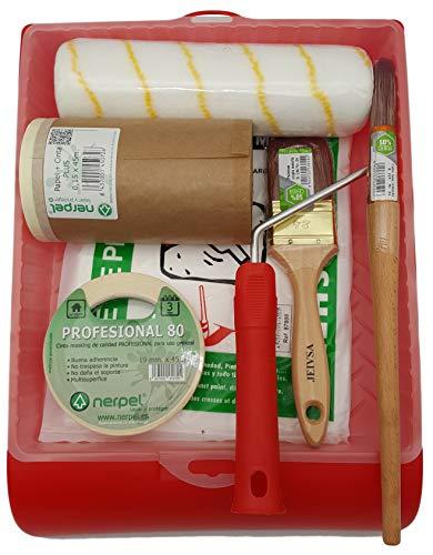 Kit para pintar paredes lisas - Cubeta, funda, cubretodo, rodillo antigota, paletina triple, cabo lata, papel con cinta, cinta pintor,