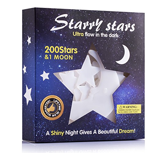 Glow In The Dark Stars Sticker 3D Glowing Reusable Ceiling Décor of 200Pcs Stars And 1Bonus Moon For Kids Bedding Room orParty