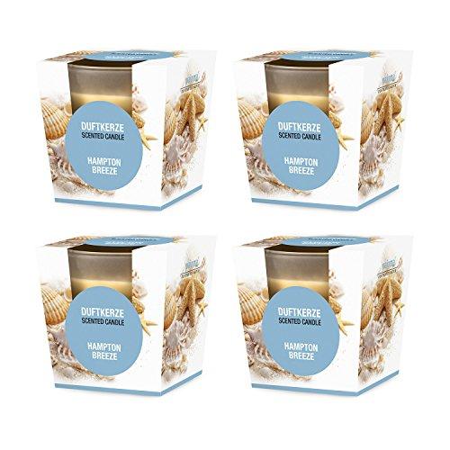 pajoma Duftkerze 4er Set, Hampton Breeze, im satinierten Glas, 4x 124 g, Brenndauer: 25 Stunden, in edler Geschenkverpackung
