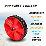 """Onefeng Sports Airless End Kayak Cart, Canoe Carrier Trolley Adjustable Kayak Trolley Suit for Extra Large 24inch Width… 11 ►【Suit for Extra Large Kayak】 Kayak cart is suitable for kayaks up to 24 inches wide.The height of kayak cart can be adjusted from 9.8"""" to 17.7"""", and each gear can be adjusted to 2"""".The width of our canoe cart can be adjusted from 20"""" to 24"""".So whatever your. So no matter what size you are, you can adjust your kayak cart. ►【Capacity】 Generous 150lb carrying capacity allows you to easily transport your kayak / canoe;solid aluminium frame,and rubber protectors on each arm to protect your canoe / kayak hull; Rubber bumpers of the foot protect the frame from wearing. ►【New Plastic Wheels】 Wheels are environment-friendly,odourless tasteless.Size:25×7cm(9.8""""×2.7"""") plastic tires with rubber sheaths.Spring button, easy assembly."""