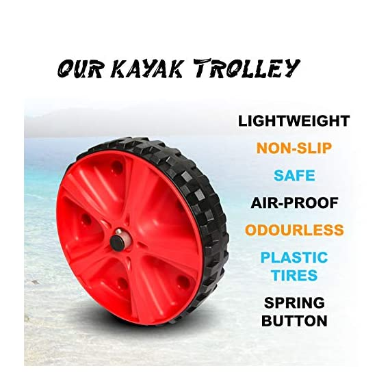 """Onefeng Sports Airless End Kayak Cart, Canoe Carrier Trolley Adjustable Kayak Trolley Suit for Extra Large 24inch Width… 2 ►【Suit for Extra Large Kayak】 Kayak cart is suitable for kayaks up to 24 inches wide.The height of kayak cart can be adjusted from 9.8"""" to 17.7"""", and each gear can be adjusted to 2"""".The width of our canoe cart can be adjusted from 20"""" to 24"""".So whatever your. So no matter what size you are, you can adjust your kayak cart. ►【Capacity】 Generous 150lb carrying capacity allows you to easily transport your kayak / canoe;solid aluminium frame,and rubber protectors on each arm to protect your canoe / kayak hull; Rubber bumpers of the foot protect the frame from wearing. ►【New Plastic Wheels】 Wheels are environment-friendly,odourless tasteless.Size:25×7cm(9.8""""×2.7"""") plastic tires with rubber sheaths.Spring button, easy assembly."""