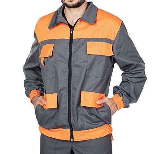 Mazalat Arbeitsjacke männer, Schutzjacke mit vielen Taschen,Arbeitsjacken Herren, Jacket mit Brusttasche Herren, Qualitat Jacke, Arbeitskleidung männer (Grau/Orange, M)