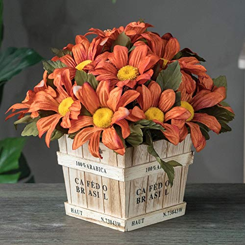 Jnseaol Fleurs Artificielles Arrangement Floral Bonsaï Pot en Bois Décoration pour Maison, Jardin, Cuisine, Mariage Et Magasin pour Amie Saint Valentin, Fête des Mères Chrysanthème Orange