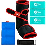 Toughito Ankle Ice Pack Wrap and Brace – Hook-and-Loop Adjustable Foot Wrap With 3 Reusable Hot/Cold Gel Packs + Ice Pack Sleeve – Relieves, Stabilizes, and Supports Ankle, Foot, Calf by Hyperflex360˚