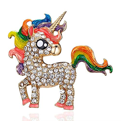 QFERW Broche Mujer Rhinestone Pin Regalos Aleación Caballo Elegante Unicornio Pin Señora...