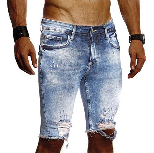 Leif Nelson Herren Jeans Shorts Sommer Kurze Jogger Hose Jeanshose Chinos Cargo Bermuda Stretch Slim Fit LN9290; W38; Blau