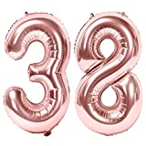 Siumir Numéro Ballons 38 Ans Géant Ballons en Or Rose Foil Helium Ballons Fête d'anniversaire Ans Anniversaire Décoration