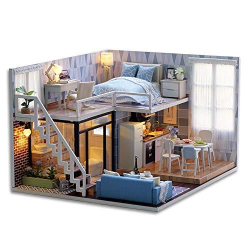 logozoee 3D-Puppenhaus aus Holz, einfache Montage, Puppenhaus, 3D-Puppenhaus aus Holzpuzzle für Heimwerker