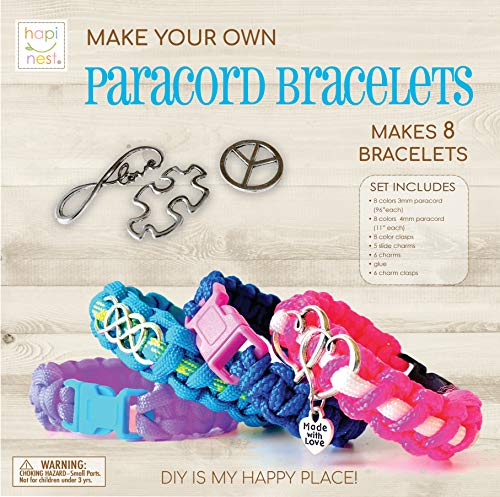 Hapinest Make Your Own Paracord Bracelets with Charms Kit - Arts and Crafts Gifts for Girls Ages 8 9 10 11 12 Years Old and Teens