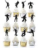 MJHE 24 Piezas de Baile Floss Cupcake Toppers para niños, Juegos temáticos artículos para Fiestas de cumpleaños decoración de Pasteles