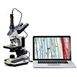 Swift SW350T 40X-2500X Magnification, Siedentopf Head, Research-Grade Trinocular Compound Lab Microscope with 1.3mp Camera-Compatible