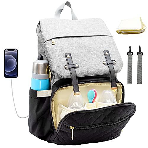 BabyBoo Mochila para pañales | Bolsa para pañales de 25 L resistente al agua con cambiador para viajes [Puerto de carga USB, fijación para cualquier cochecito] Bolsa de pañales unisex para bebé