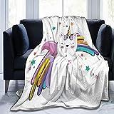GEHIYPA Couverture Polaire Fine et Confortable,Animal féerique avec Arc de Cornet de crème glacée,étoiles et Arc-en-Ciel,Fiction Fantastique pour Enfants, Couverture de climatiseur 50'X40'