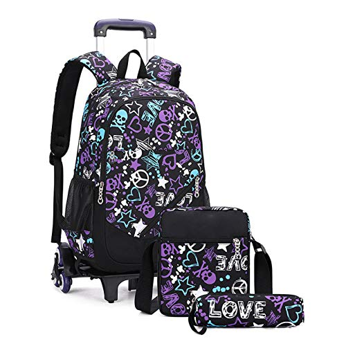 LHY EQUIPMENT 6 Wheels Trolley Backpack, Children's Trolley Rolling Primary School Student Can Climb Stairs Lightweight Waterproof Detachable Wheeled Backpack for Kids,Purple