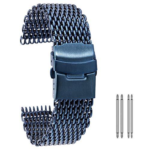 ZXF Correa de reloj de malla, correa de acero inoxidable de 18/20/22/24 mm plegable correa de repuesto (color de la correa: azul, ancho de la correa: 18 mm)