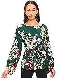 Romwe Women's Floral Print Long Sleeve Self tie Waist Knot Blouse Top Green M