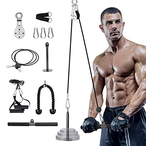 Pulley System Gym Cable Machine Attachments, 3 in 1 Fitness LAT and Cable Pulley System Home Workouts Gym Equipment Lat Pulldown Bars Attachments for Triceps Pull Down, Biceps Curl, Back, Forearm - 2M