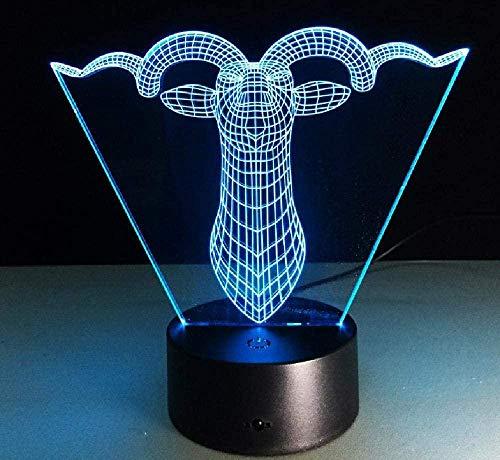 Luz nocturna 3D Control remoto de 7 colores Luz de ilusión 3D Control remoto Luz nocturna Cabeza de ciervo 3D Arte de primer plano Luz majestuosa y hermosa