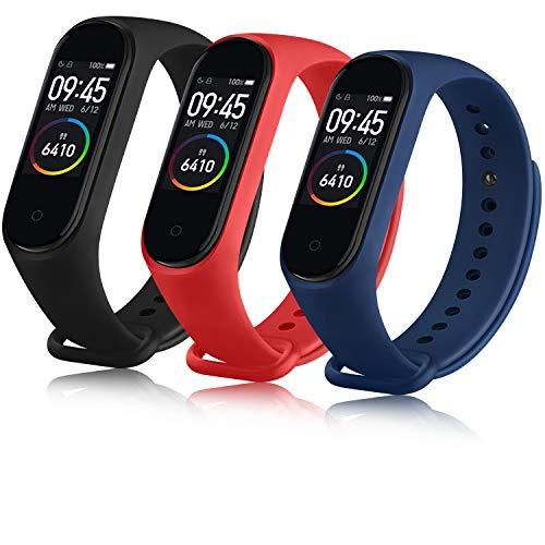 Oumida Correa Compatible con Xiaomi Mi Band 4 Xiaomi Mi Band 3, Pulseras Reloj Recambio Silicona Suave Original para Xiaomi Mi Smart Band 4 (Negro/Rojo/Azul)