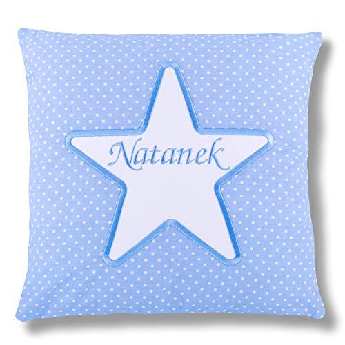 Amilian® Kissen 40 x 40 cm mit Namen Datum STAR blau M07