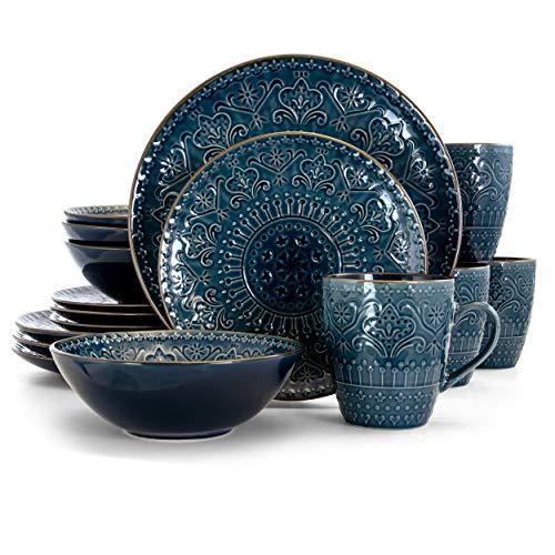 Elama Round Stoneware Embossed Dinnerware Dish Set, 16 Piece, Sea Blue with Brown Trim