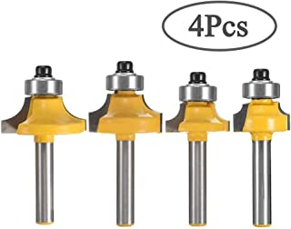 VAGYD 1/4 Inch Shank Round-Over Router Bits Woodworking Milling Cutter Tools Corner Rounding Edge-forming Bit Set- 4Pcs