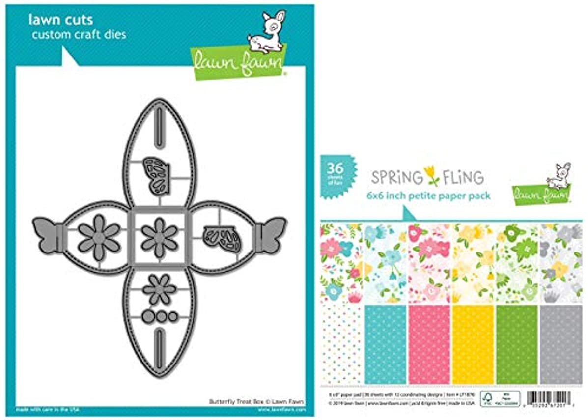 Lawn Fawn Butterfly Treat Box Die and Spring Fling 6 x 6 Inch Petite Paper Pad - 2 Items