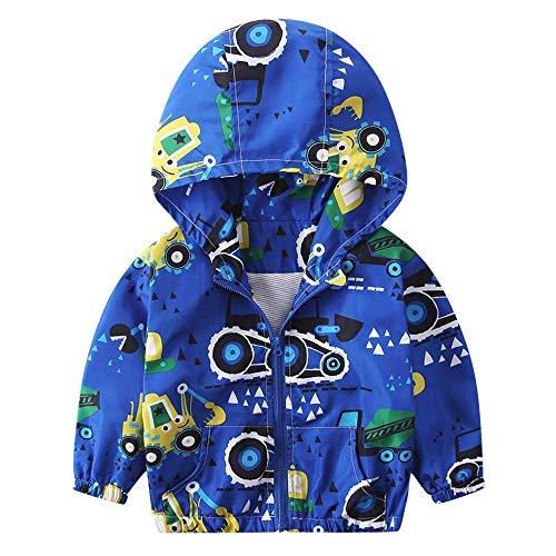 sunnymi Baby Mantel Herbst Jacke Oberbekleidung Dinosaurier Hoodie Windbreaker Für 1-6 Jahre (3 Jahre, Blau Bagger)