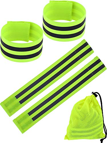 Boao 8 Pieces Reflective Wristbands Safety Reflector Straps Elastic Wristbands Armbands with Mesh Storage Bag, Fluorescent Green