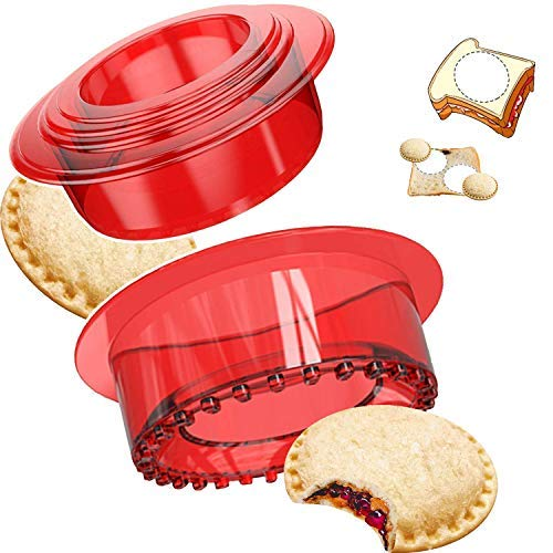 Sandwich cutter and sealer Set Uncrustables Sandwich Cookie Bread Pancake Maker Perfect for Kids Lunchbox and Bento Box (RED) …