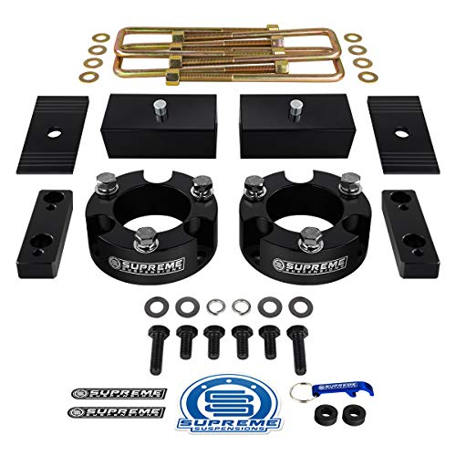 3 Rear Suspension Lift High-Density Delrin Spring Spacers 2WD 4WD Full Lift Kit for 1999-2004 Grand Cherokee WJ 3 Front Black Supreme Suspensions