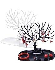 Soporte para Joyas,Guador 2 Piezas Collar Pulsera Soporte de Pendiente Almacenamiento de árbol de Asta Joyero en Forma de árbol Regalo Ideal(Negro,Blanco)