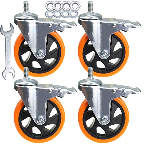 Stem Casters Aozel Heavy Duty Swivel Threaded Stem Caster Wheels with American Size 1/2''-13x1'' Thread Dual Locking Wheel with Brakes Pack of 4 (5 Inch)