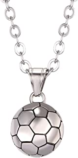 U7 Men Women Soccer/Basketball/Rugby/Tennis Racket Necklace Stainless Steel/18K Gold Plated Spiga Chain & Pendant,Athlete ...