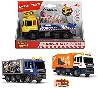 Dickie Toys 203308383 Garbage Collector 203308383 Cami/ón de la Basura con luz y Sonido Color Naranja 39 cm, Funciona con Pilas