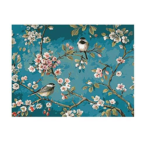 Canghai Malen nach Zahlen DIY Leinwand Ölgemälde Set Gemälde für Erwachsene Kinder Home Wanddekoration - Flower und Vögel, 40x50cm (ohne Rahmen)