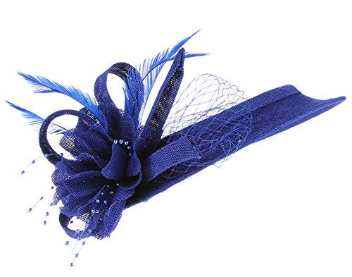 EOZY Mujer Tocado de Boda Sombrero Hueco con Pluma Flor Vintage Azul