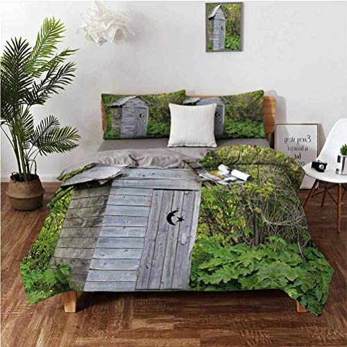 Outhouse Three Piece Set Beautifully Printed on The Bed Vintage Farm Life Cottage Barn Shed in Forest Trees Leaves Picture Suitable for Any Bedroom or Guest Room King(104'×90') Pillowcases 3620' Pal