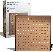SHARPER IMAGE Light Up Electronic Word Clock, Copper Finish with LED Light Display, USB Cord and Power Adapter, 7.75in...