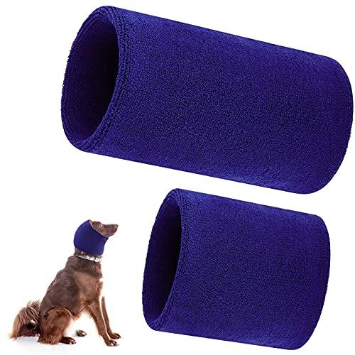 2 Stücke Hund Haarnetz Hundehals und Ohren Wärmer Haustier Hund Ohrenschützer für Komfort Anti Angst Baden Pflege Lärm Reduzieren 1 Klein und 1 Groß